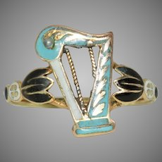 Georgian Enamel Harp Ring Circa 1800