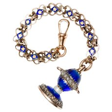 Antique 19th Century French Urn Blue Glass Diamond And Agate Fob With Enamel Chain Circa 1830