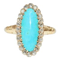 Victorian Turquoise And Diamond Cluster Ring Circa 1890
