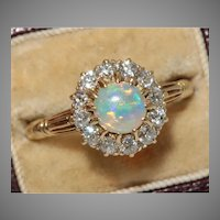 Victorian Opal And Diamond Cluster Ring Circa 1890