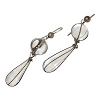 Fabulous Victorian Pools Of Light Rock Crystal Silver Dangle Earrings Circa 1880