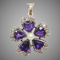 Antique Violet Hearts Amethyst Diamond And Pearl Pendant Circa 1880