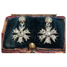 Fine Antique Snowflake Diamond Dangle Earrings Circa 1850