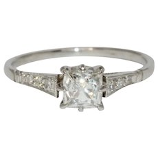 Art Deco 0.66 Carat Square Old Cut Diamond Platinum Solitaire Engagement Ring Circa 1930