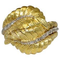 Mid Century 18 Carat Gold Diamond Cocktail Ring Circa 1960-1970