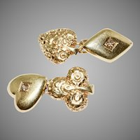 Playing Cards Cufflinks 14 Carat Gold Circa 1930