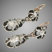 Antique Night And Day Old Mine Cut Diamond Earrings Circa 1840