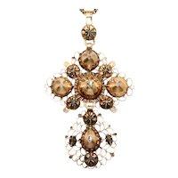 Antique Belgian Rose Cut Diamond Cross Circa 1780
