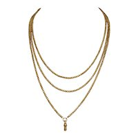 Victorian 9 Carat Gold Long Guard Chain Necklace Circa 1890