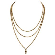 Victorian 9 Carat Gold Long Guard Chain Necklace Circa 1890