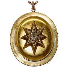 Large Victorian Diamond Star Locket Pendant 18 Carat Gold Circa 1870