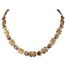 Victorian Bi-Colour Gold Book Chain Necklace Circa 1880