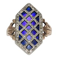 18th Century Bague Au Firmament Ring Diamonds And Enamel Circa 1780