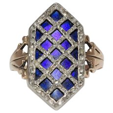 18th Century Bague Au Firmament Ring Diamonds And Enamel Circa 1780