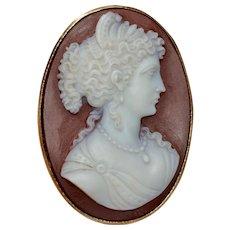 Hardstone Agate Cameo Brooch Pin Circa 1880