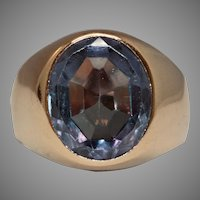 Colour Change Synthetic Sapphire Signet Ring Circa 1915-1920