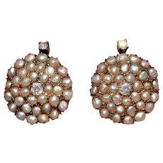 Natural Pearl And Diamond Earrings 14 Carat Gold Circa 1910