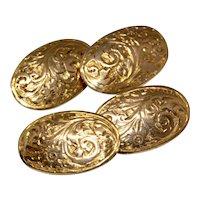 Victorian Chased Cufflinks 9 Karat Gold Circa 1890
