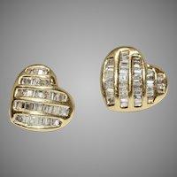 Vintage Baguette Diamond Earrings 14 Carat Gold Circa 1980's