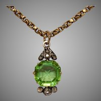 Victorian Diamond And Green Paste Pendant Circa 1880