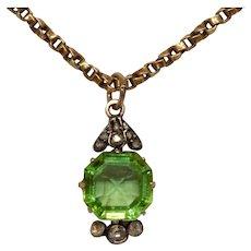 Victorian Diamond And Green Paste Pendant Circa 1880