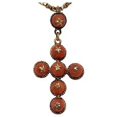 Antique French Coral Cross Pendant Circa 1840