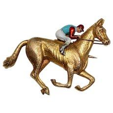 Fine Jockey Horse Brooch/Pin Circa 1900