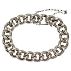 Heavy Vintage Sterling Silver Curb Link Bracelet 1980's