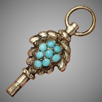 Antique Natural Turquoise Watch Key Charm Circa 1830