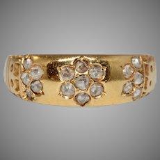 Victorian Diamond Daisy Gypsy Band Ring Dated 1890