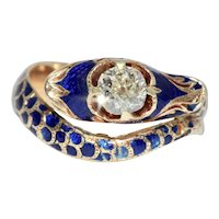 Imperial Russian Diamond And Enamel Snake Ring Dated 1860