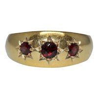 Antique Garnet Gypsy Ring Band Dated Chester 1912