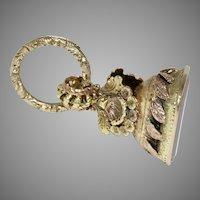 "Regency ""Caroline"" 3 Colour Gold Shell Seal With Split Ring Circa 1820"