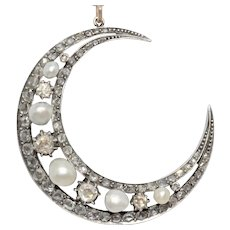 Antique Natural Pearl And Diamond Crescent Moon Pendant Circa 1880
