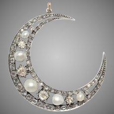 Antique Natural Pearl And Diamond Crescent Moon Pendant Circa 1880