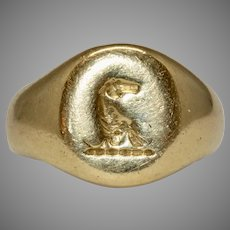 Antique Signet Crest Ring 18 Carat Gold Dated 1916