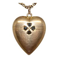 Arts And Crafts Four Leaf Clover Heart Pendant Circa 1890