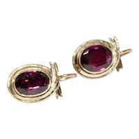 Victorian Almadine Garnet Earrings Circa 1880
