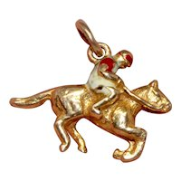 Enamelled Jockey Horse Charm signed Georg Jensen London 1972