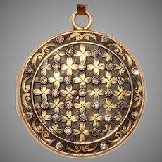 Stunning Art Nouveau Enamel Diamond Locket 18 Carat Gold Circa 1890