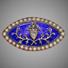 Fabulous Georgian Enamel Rose Diamond Bow Heart Brooch Circa 1790