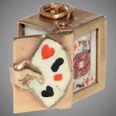 Enamel Playing Cards Charm Signed Georg Jensen 1959
