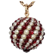 Antique Bohemian Garnet And Pearl Spinning Ball Pendant Charm Circa 1880