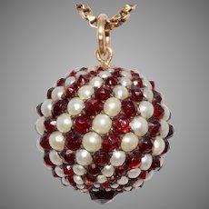Antique Bohemian Garnet And Pearl Spinning Ball Pendant Charm Circa 1880