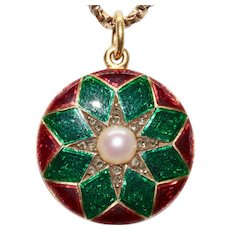 Victorian Enamel Diamond Pearl Star Pendant Locket Circa 1870
