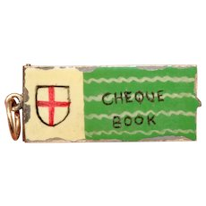 Vintage Cheque Book Gold Enamel Charm Dated London 1960
