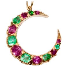Antique Natural Burmese Ruby And Emerald Crescent Pendant Charm Dated 1910