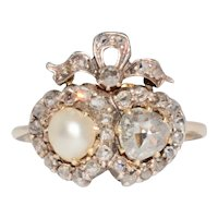 Antique Double Heart Pearl And Rose Diamond Ring Conversion Circa 1880