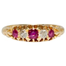 Victorian Natural Ruby Diamond Five Stone Half Hoop Engagement Ring Dated 1897