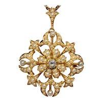 Victorian Diamond Natural Seed Pearl Pendant Brooch 15 Karat Gold Circa 1890